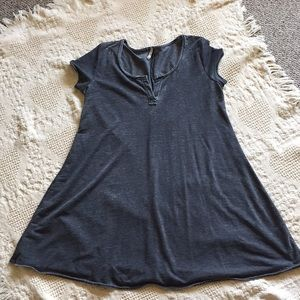 Charcoal gray mini dress with raw edges!